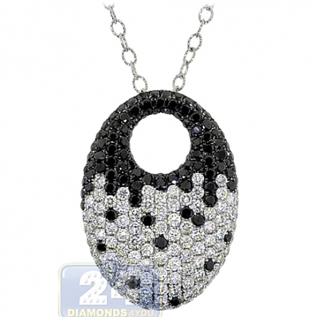 Womens Zebra Black Diamond Oval Pendant Necklace 14K White Gold