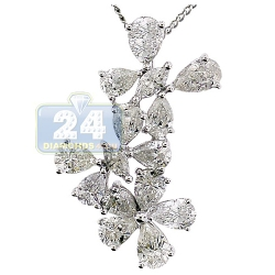 14K White Gold 3.63 ct Marquise Diamond Womens Flower Pendant