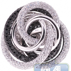 18K White Gold 5.14 ct Black Diamond Womens Rose Flower Ring