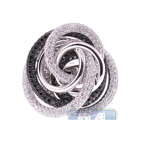 18K White Gold 5.14 ct Black Diamond Womens Rose Flower Ring