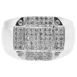 14K White Gold 0.82 ct Diamond Mens Signet Ring