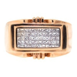 14K Rose Gold 0.80 ct Princess Cut Diamond Mens Ring
