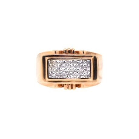 14K Rose Gold 0.80 ct Princess Cut Diamond Mens Ring