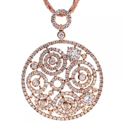 14K Rose Gold 3.12 ct Diamond Openwork Floral Pendant