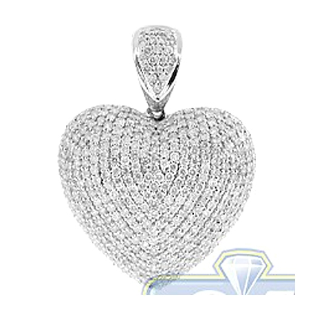 Womens Iced Out Diamond Heart Love Pendant 14K White Gold 4.32ct