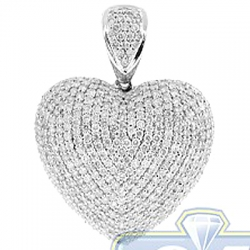 14K White Gold 4.32 ct Iced Out Diamond Womens Heart Pendant