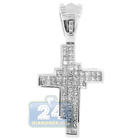 Mens Invisible Set Princess Diamond Cross Pendant 14K White Gold 2""