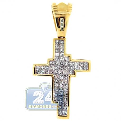 Mens Invisible Set Princess Diamond Cross Pendant 14K Yellow Gold