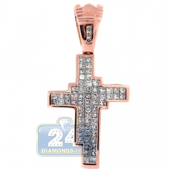 14K Rose Gold 2.50 ct Princess Diamond Mens Cross Pendant