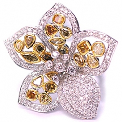14K White Gold 5.15 ct Multicolored Diamond Womens Flower Ring