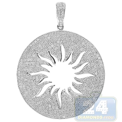 14K White Gold 4.21 ct Diamond Sun Womens Round Pendant