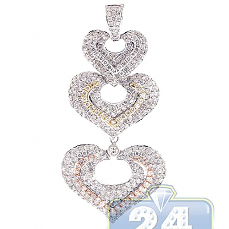14K White Gold 3.25 ct Diamond Three Hearts Womens Pendant