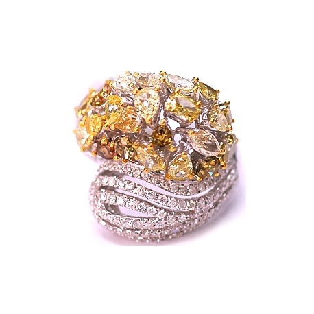14K White Gold 5.68 ct Fancy Multicolored Diamond Womens Dome Ring