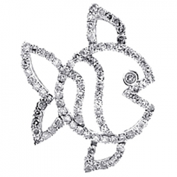 Womens Diamond Fish Frame Open Pendant 14K White Gold 0.57ct