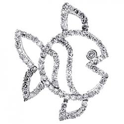 14K White Gold 0.57 ct Diamond Fish Frame Womens Pendant