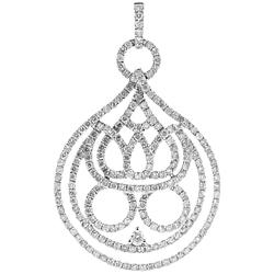 14K White Gold 2.88 ct Diamond Womens Openwork Pendant