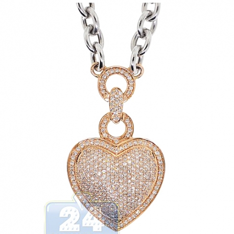 Womens Diamond Heart Pendant Necklace 14K Two Tone Gold 2.18ct
