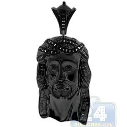 Mens Diamond Jesus Christ Head Pendant 14K Black Gold 2.01ct