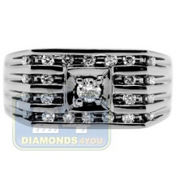 Black PVD 14K Gold 0.48 ct Diamond Mens Rectangle Lined Ring