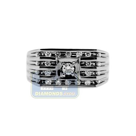 Black PVD 14K Gold 0.48 ct Diamond Mens Rectangle Lined Ring