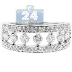 14K White Gold 0.68 ct Diamond Antique Openwork Band Ring