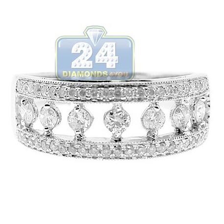 14K White Gold 0.68 ct Diamond Womens Antique Openwork Band Ring