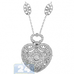 Womens Diamond Locket Heart Pendant Necklace 18K White Gold