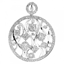14K White Gold 2.07 ct Diamond Openwork Floral Pendant
