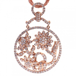 14K Rose Gold 2.69 ct Diamond Flower Womens Round Pendant