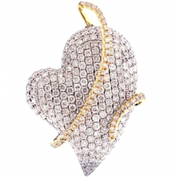 14K Two Tone Gold 3.71 ct Diamond Womens Heart Pendant