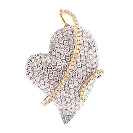 Womens Diamond Pave Heart Pendant 14K Two Tone Gold 3.71ct