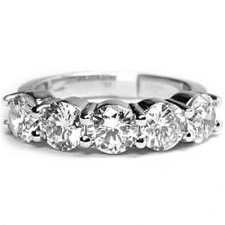 14K White Gold 3.80 ct Diamond Womens Five Stone Ring
