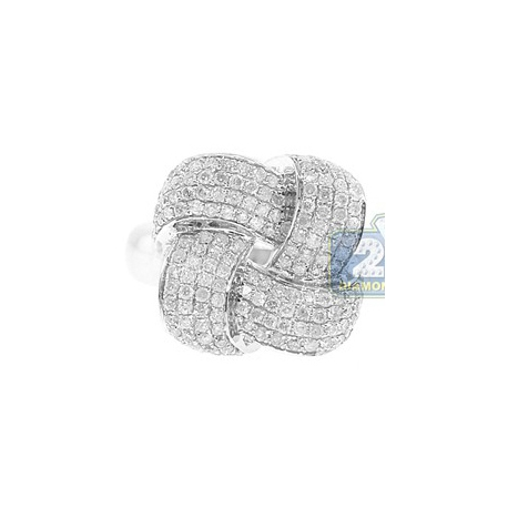 14K White Gold 1.00 ct Diamond Womens Woven Ring