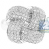 14K White Gold 1.00 ct Diamond Womens Woven Ring
