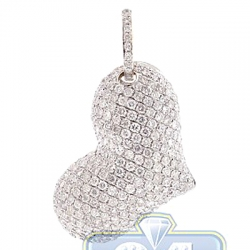 14K Yellow Gold 3.45 ct Diamond Pave Womens Heart Pendant