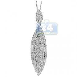 14K White Gold 2.95 ct Diamond Teardrop Leaf Womens Pendant