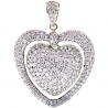 Womens Diamond Pave Halo Heart Pendant 14K Yellow Gold 3.04ct