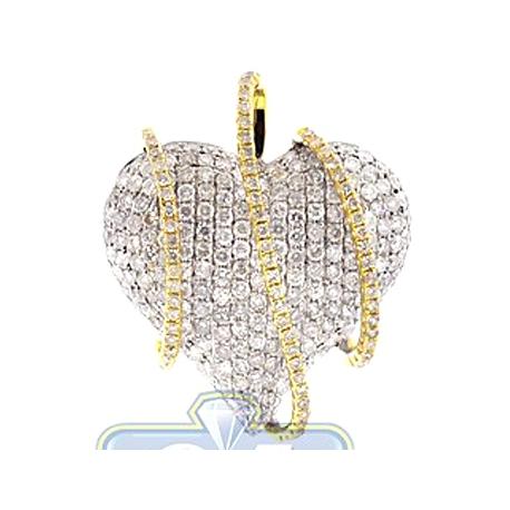 Womens Diamond Wrapped Heart Pendant 14K Two Tone Gold 3.29ct