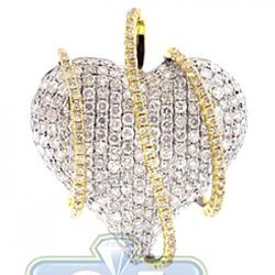 14K Two Tone Gold 3.29 ct Diamond Wrapped Heart Pendant