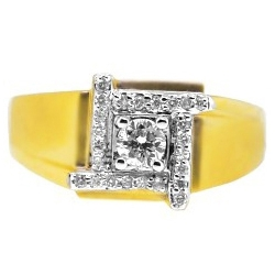 Matte 14K Yellow Gold 0.62 ct Diamond Mens Square Ring