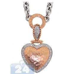Womens Diamond Heart Pendant Necklace 14K Two Tone Gold 0.63ct