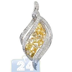 14K White Gold 2.60 ct Fancy Diamond Womens Leaf Pendant