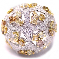 14K White Gold 7.68 ct Fancy Multicolored Diamond Dome Ring