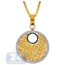 14K Yellow Gold 0.73 ct Diamond Cage Circle Pendant Necklace