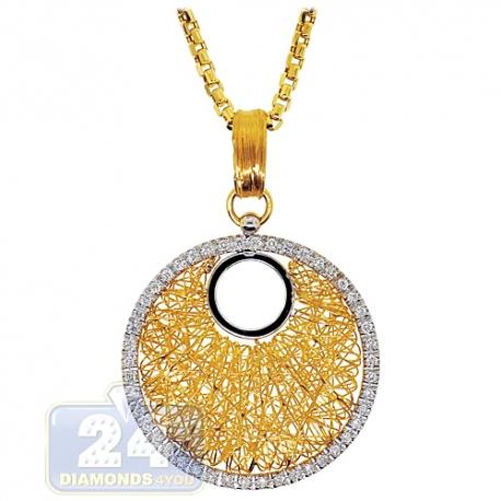 "Womens Diamond Cage Circle Pendant Necklace 14K Yellow Gold 16"""