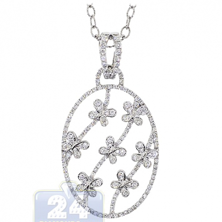 Womens Diamond Butterfly Oval Pendant 14K White Gold 1.60ct