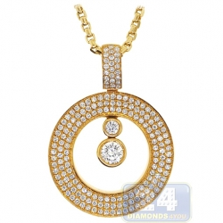 14K Yellow Gold 1.50 ct Diamond Floating Round Pendant