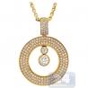 Womens Floating Diamond Round Pendant 14K Yellow Gold 1.50ct