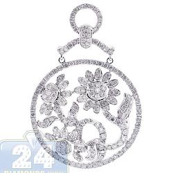 14K White Gold 2.76 ct Diamond Flower Chandelier Pendant