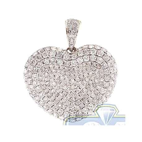 Womens Diamond Pave Сoncave Heart Pendant 14K Yellow Gold 3.1ct